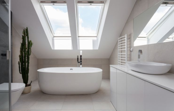 Beautiful large skylights above a large white tub | Demers Glass AZ