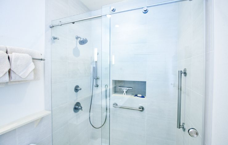 Custom modern shower with frameless shower enclosure | Demers Glass AZ