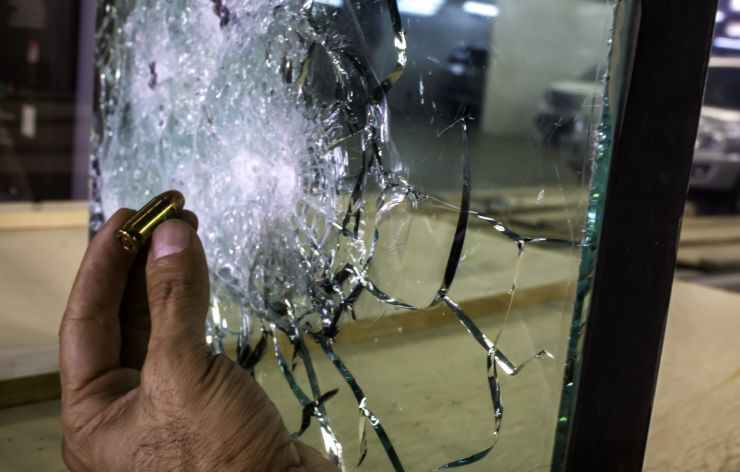Bullet removed from bullet resistant glass | Demers Glass AZ