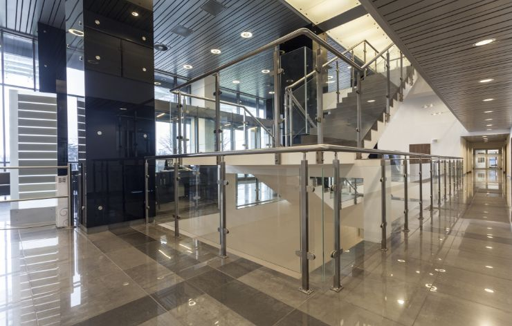 Interior of commercial building with all glass system | Demers Glass AZ