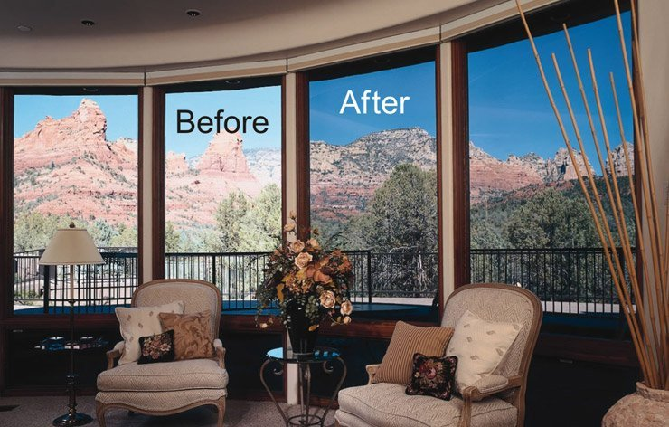 Living room with before & after of glass with tint and without | Demers Glass AZ