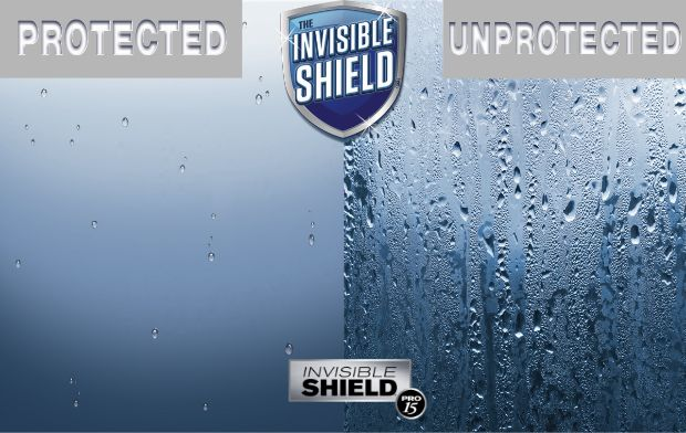Glass comparison showing Unelko protected shower glass vs. unprotected glass