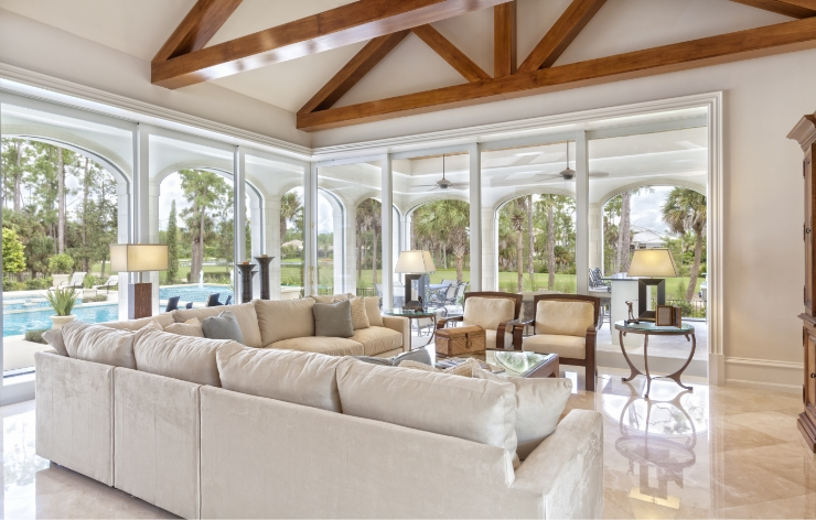 Open concept family room with automated glass doors | Demers Glass AZ