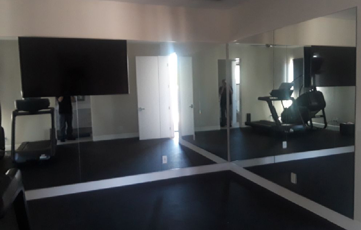 Mirror installation at an in-home gym - Demers Glass AZ