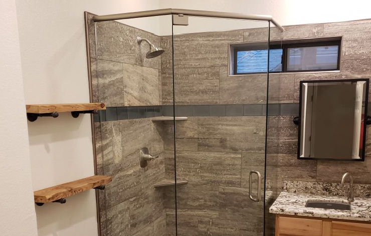 Completed frameless shower enclosure installed by Demers Glass in AZ