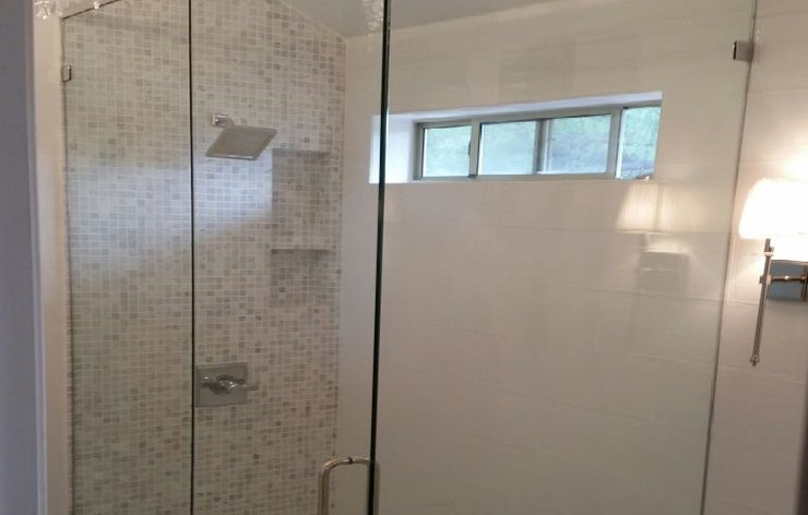 Sliding glass shower enclosure installed by Demers Glass in AZ