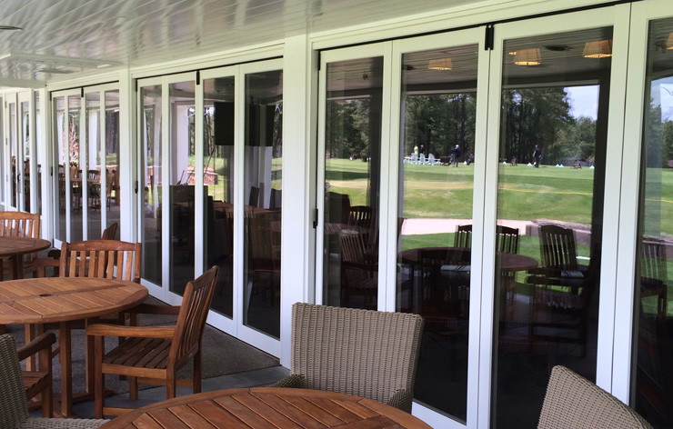 33' bi-fold door installed at Forest Highlands by Demers Glass, AZ