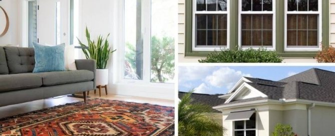 Three collaged image with an open living room, solar screen windows and window awnings by Demers Glass