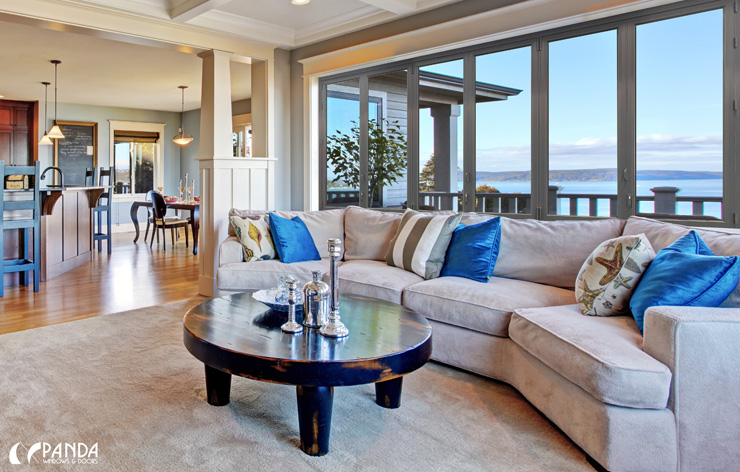 Comfortable family room with large windows by Panda Windows   Demers Glass AZ