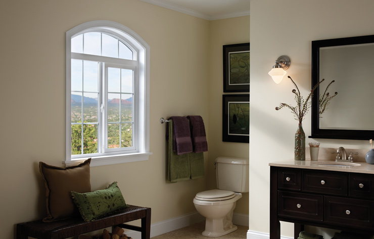 Modern and sophisticated bathroom with accent windows by Ply Gem, a Demers Glass Partner