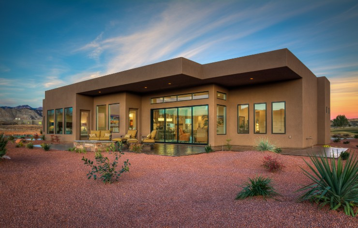 Contemporary stucco home with large windows by Weather Shield, a Demers Glass partner