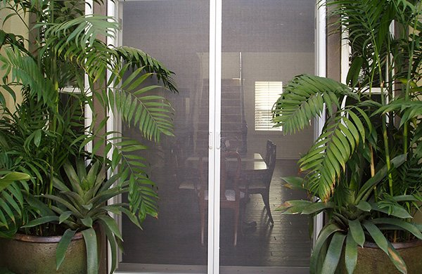 Closed retractable screen doors surrounded by large green plants opening to the interior of a home
