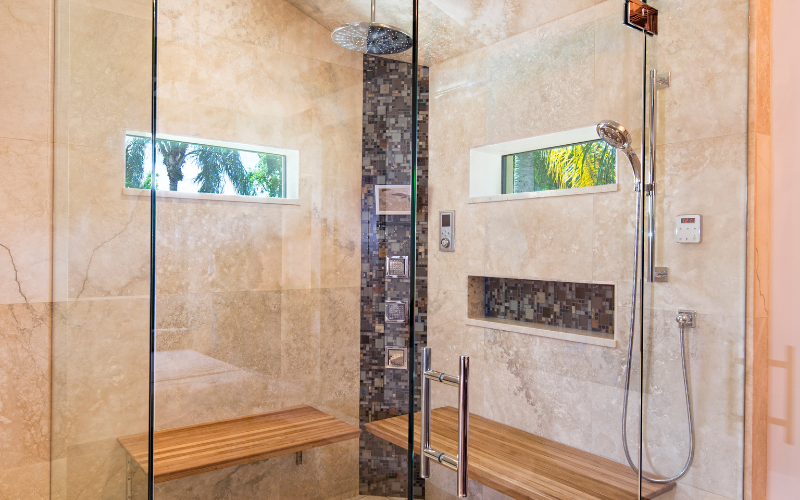 swinging glass shower enclosure
