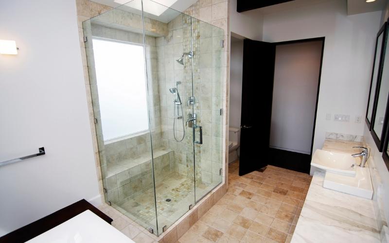 frameless custom glass shower enclosure